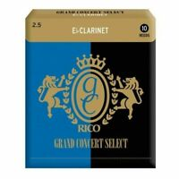 10x Rico Grand Concert Select Eb Clarinet Reeds, Strength 2.5 10-pack No. 2 1/2