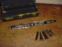 ANTIQUE  WOOD SOPRANO CLARINET GERMANY ALBERT SYSTEM KEY OF C WOOD MOUTHPIECE