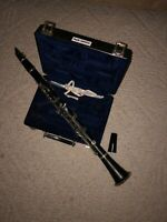 H & H music wooden clarinet with case, grease, reed cover and cleaning tools