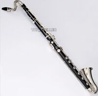 Professional Low C Bass Clarinet Bakelite Body Silver-plated key With Case