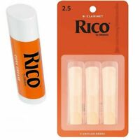 Rico Bb Clarinet Reeds Strength 2 1/2  3-pack No 2.5 x 3  with 1 Cork Grease New