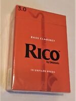 (Lot 4a) Rico Bass Clarinet Reeds, Strength #3, Pack of 10 Reeds, NEW IN BOX