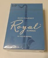 (L13c,d) Rico Royal Bass Clarinet Reeds, Strength #3, Pack of 10, NEW IN BOX