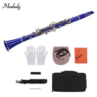 Muslady ABS 17-Key Clarinet Bb Flat with Carry Case Gloves Cleaning Cloth G0Z0