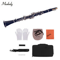 Muslady ABS 17-Key Clarinet Bb Flat with Carry Case Gloves Cleaning Cloth A4F0