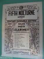 Bb Clarinet solo & duet w/ piano Fifth Nocturne Op 25  by  J Leybach 1933