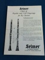 Selmer Chart of Regular and Trill  Fingerings for Bb Clarinet