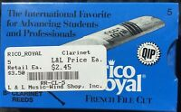 Rico Royal Bb Clarinet Reeds, Strength 5.0, 10-pack.  New, Unopened Packaging.