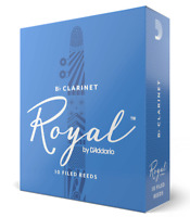 Rico Royal Bb Clarinet Reeds 10-pack French Filed Choose Strength 2.5, 3, 3.5, 4