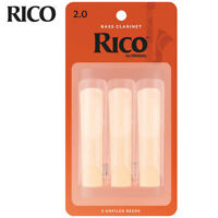 3-PACK Rico by D'Addario REA0320 Bass Clarinet Reeds - Strength #2