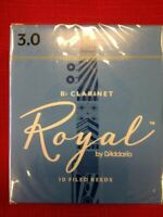 10 - RICO ROYAL Bb CLARINET REEDS SIZE 3 - BRAND NEW - UNOPENED BOX