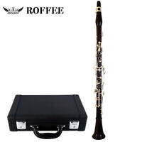 ROFFEE 506 Ebony Wood Silver Plated 18 Keys 4 Rings G Tone German Style Clarinet