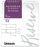 DAddario Reserve Classic Clarinet Reeds, Strength 3.0 10Pack  Thick