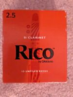 Rico by D'Addario B-flat Clarinet Unfiled Reeds - 2.5 Strength - Box of 9