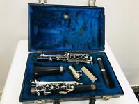 Antique Clarinet Music French Art Cut Complete Rosewood Wooden Original Box