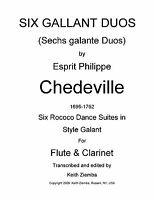 Flute & Clarinet Duets 6 Gallant Duos by Chedeville Rococo 6 Dance Suites NEW