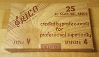 Vintage Rico Eb Clarinet Reeds Box of 25 Style V Strength 4 - NOS New Open Box