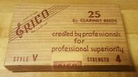 Vintage Rico Eb Clarinet Reeds 20 of 25 Left Style V Strength 4 - NOS Open Box