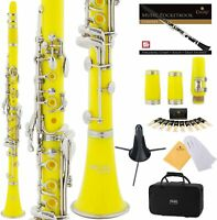 Clarinet (Bb) w/2nd Barrel 10 reeds Case Stand Care Kit - Yellow w/Silver Keys