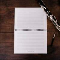 A4 Landscape Music Notebook 8 Manuscript Staves and Lined Note Paper Piano Staff