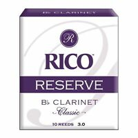 Rico Reserve Classic Bb Clarinet Reeds, Strength 3.0, 10-pack