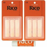 Rico Bb Clarinet 6 x Reeds, Strength 1.5 ( 1 1/2 ) Student Pack with Cork Grease