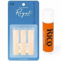 Rico Royal Woodwinds Bb Clarinet Reeds, 3 x Strength 2.5  with Cork Grease