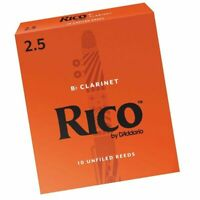 Rico Bb Clarinet 10 x Reeds, Strength 2.5 ( 2 1/2  )10-pack by D'addario On Sale