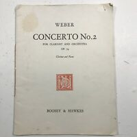 vintage music book Concerto No.2for Clarinet and Orchestra Op. 74