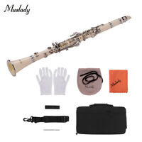 Muslady ABS 17-Key Clarinet Bb Flat with Carry Case Gloves Cleaning Cloth G8Z2