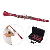 Muslady ABS 17-Key Clarinet Bb Flat with Carry Case Gloves Cleaning Cloth R1G2