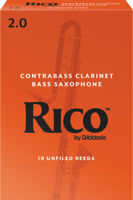 Rico by D'Addario Contra Clarinet/Bass Sax Reeds, Strength 2, 10-pack
