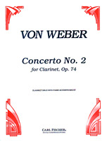 VON WEBER-Concerto No. 2, Op. 74 For Clarinet-MUSIC BOOK-BRAND NEW ON SALE-PIANO