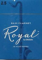 Royal by D'Adddario Bass Clarinet Reeds #2.5 (10-Pack) NEW reb1025
