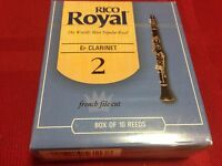 One Box of 10 RICO ROYAL Eb CLARINET REEDS #2 FRENCH FILE CUT