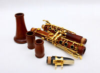 Golden Plated Bb Key 17 key Professional Clarinet Rosewood Wooden Body