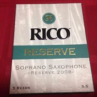 5 PACK RICO RESERVE SOPRANO SAXOPHONE REEDS SIZE 3 1/2 (3.5) - BY D'ADDARIO SAX