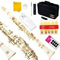 Flat Clarinet With Second Barrel 8 Pads Cushions Case Carekit And More White