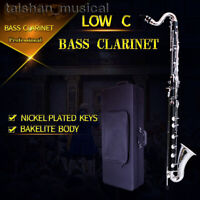 Professional African Bakelite Bass Clarinet Low C Silver 24 key With Case