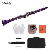 Muslady ABS 17-Key Clarinet Bb Flat with Carry Case Gloves Cleaning Cloth A6O7