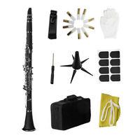 Bb B Flat Clarinet Clarionet Bakelite with Case Reeds Rubber Pads Gloves C8A6