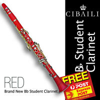 RED Bb CLARINET • With Case • Best Student Quality • BRAND NEW • FREE EXPRESS •