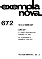 Prayer for Bass Clarinet or Clarinet in B-flat Solo Exempla Nova 672
