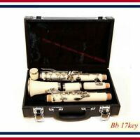 Clarinet NEW 17 Key of Bb White Student Band Clarinet B Flat WHITE with Deluxe C