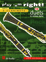 VELDKAMP PLAY 'EM RIGHT! DUETS MUSIC BOOK FOR TWO CLARINETS BRAND NEW ON SALE!!