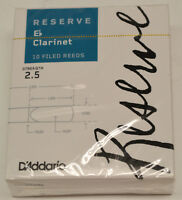 NEW-SEALED BOX OF D'ADDARIO RESERVE Eb CLARINET REEDS, STRENGTH #2.5