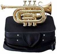 Trumpet Pocket brass silver Great Quality Best Sound With Hard Case + Mouthpiece