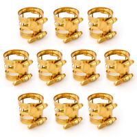 10 Pcs Carving Ligature for Alto Sax And Clarinet Parts Replacement Gold