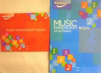 A4 or A5 Music Manuscript Book Writing Music Theory Note 6/12 Staves (24 Pages)