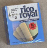 10 New Royal Rico #3 Alto Clarinet reeds in sealed blue box. French File Cut